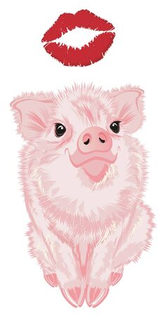 pig sit with large red kiss Stock Photo