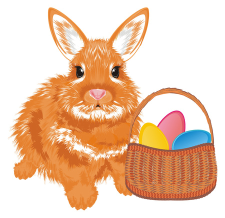 bunny and basket with easter eggs