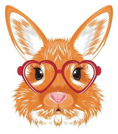 head of bunny in red glasses of hearts