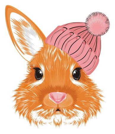 muzzle of bunny in warm hat Banque d'images