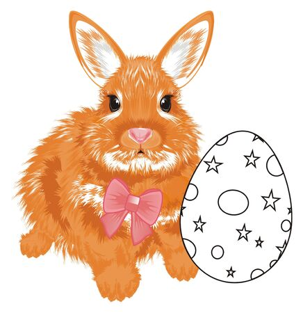 easter bunny with a bow and paint egg