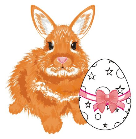 bunny sit with coloring egg with a bow