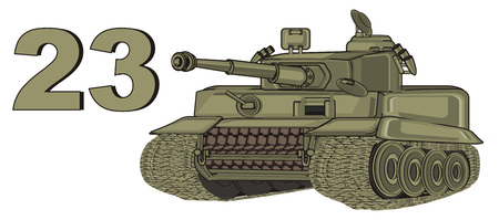 army tank with sings 23