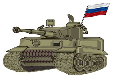 tank with little Russia flag Stock Photo