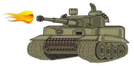 green tank and fire Zdjęcie Seryjne