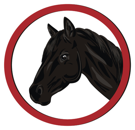 head of horse and red sign