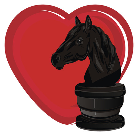 chess horse and red heart