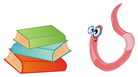 worm in blue glasses and colored books Stock Photo