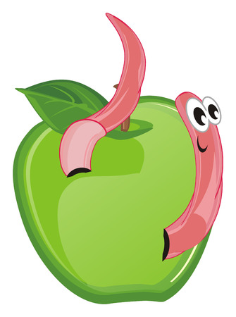 pink worm peek up from an apple