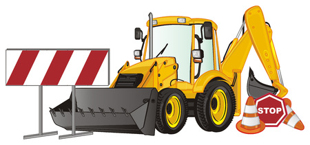 yellow excavator and many road signs