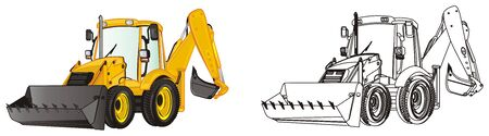 yellow excavator and coloring excavator