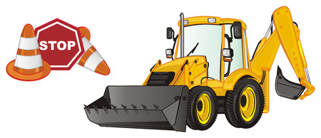 yellow excavator and cone and sign stop Stock Photo