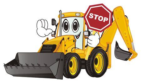 happy face of yellow excavator Stock Photo