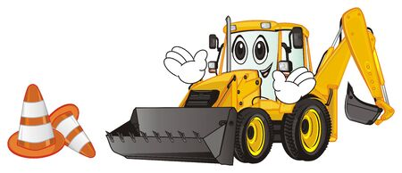 funny face of yellow excavator with orange cone Stock Photo