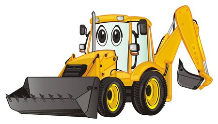 surprise face of yellow excavator Stock Photo