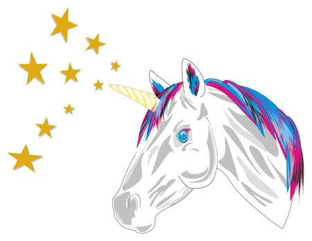 unicorn and many yellow stars Stock Photo