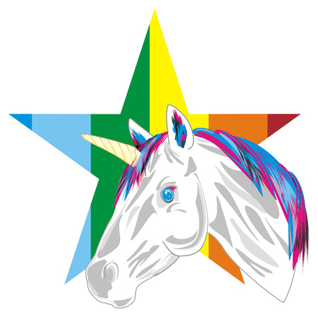 unicorn adn colored star Stockfoto
