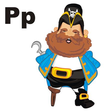 Sourire pirate et lettre p Banque d'images - 96390181