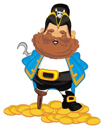 happy pirate and many gold coins Standard-Bild