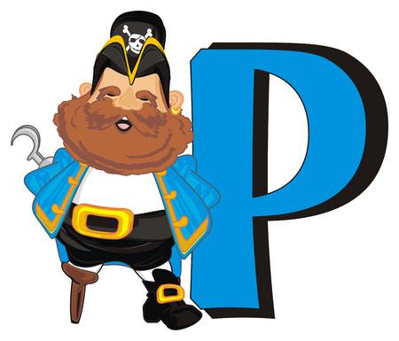 Pirate et grande lettre p Banque d'images - 96390191