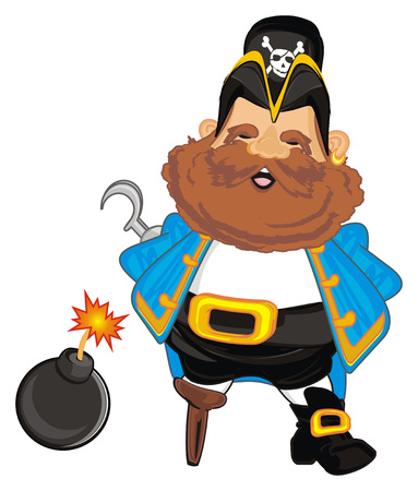 happy pirate with black bomb with a fire