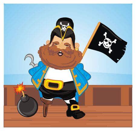 pirate with flag and bomb on deck Stock Photo