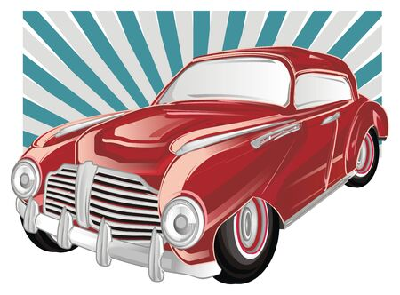 red old car with colored icon