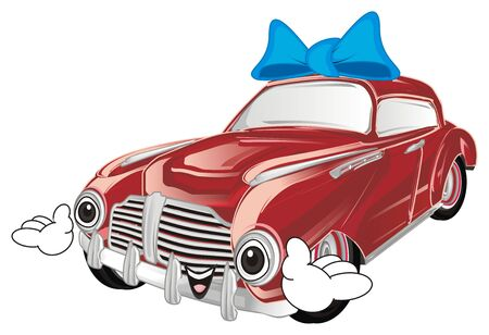 smiling old red car with a bow and hands