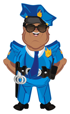 happy afro policeman stand Stock Photo