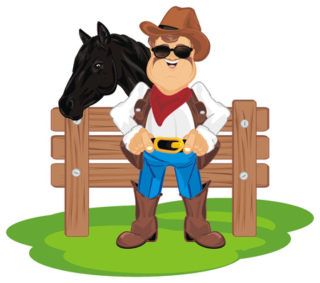 cowboy with his horse on ranch