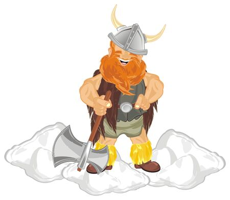 viking on snow with ax Stock Photo