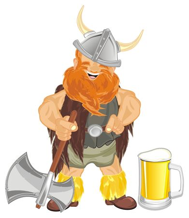 viking with beer and ax