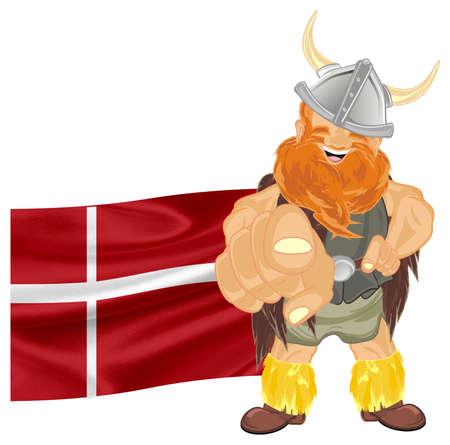 viking and Denmark flag