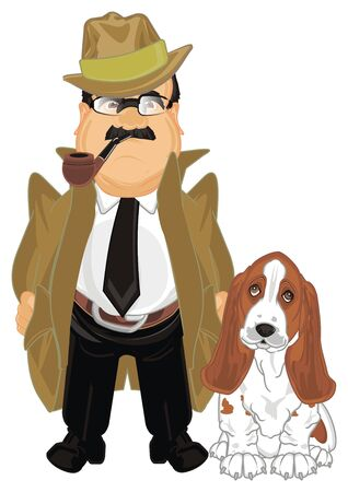 detective with his dog stand and smoke