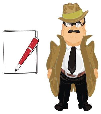detective with notes and pen