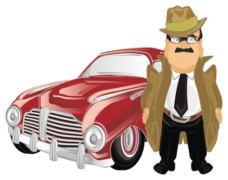 detective and his retro car Stock Photo