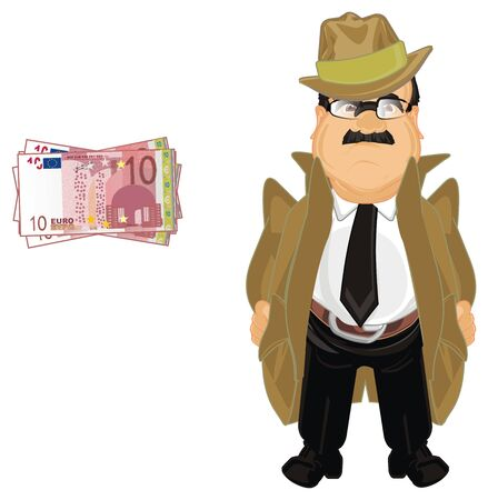 detective with cash of euro