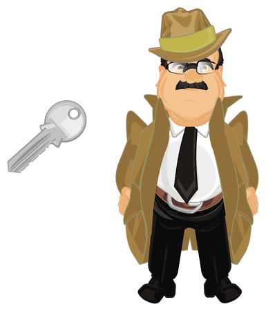detective with iron key