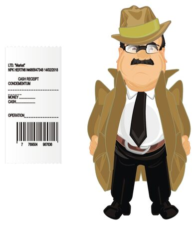 detective with large paper check Stock Photo