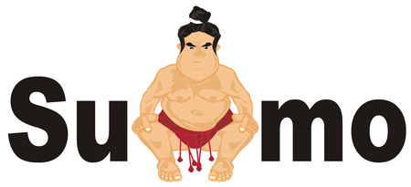 sumo wrestler peek up from letters