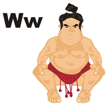 sumo wrestler and letters w Banco de Imagens