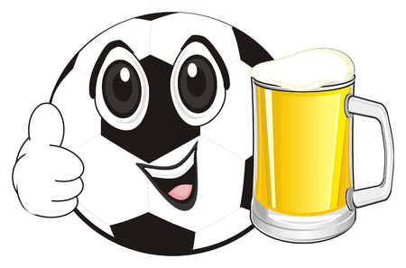smiling soccer ball with drink Stock Photo