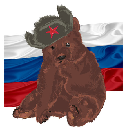 russian bear with Russian flag