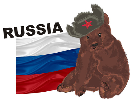russian bear with russian tools Stock Photo
