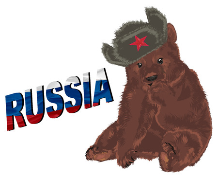 russian bear adn colored word Russia