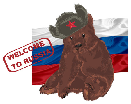 russian bear with red stamp and flag