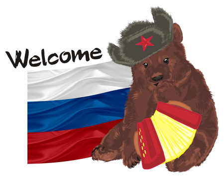 russian bear with colored tools