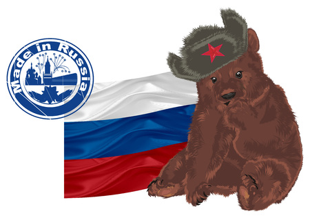 russian bear with stamp and flag Stock Photo