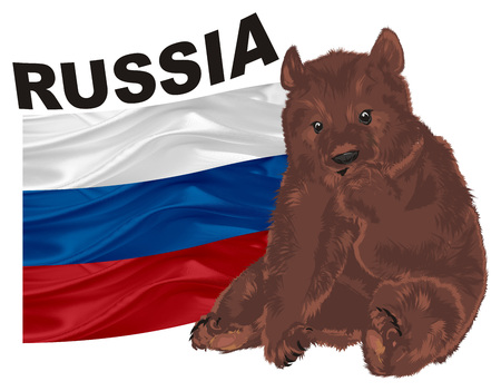 brown bear with flag and name of country Stock Photo