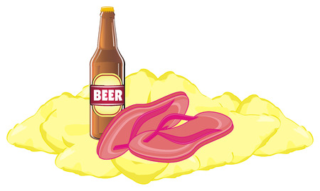 pink flip flops on sand with bottle of beer Stock Photo